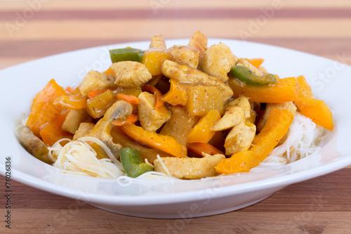 Papiers peints Plat cuisine chicken and mango curry on rice noodle