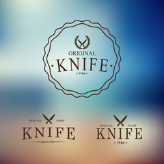 Vector logo with a set of knives on abstract background.