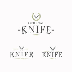 Vector logo with a set of knives on white background.