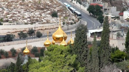 Church of Mary Magdalene located on  Olives Mount in Jerusalem