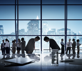 Business People Bowing Discussion Communication Meeting Concept