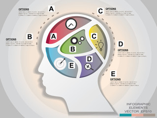business template head graphic design element.infographic illust