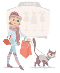 Cartoon girl with red shopping bag and smiling cat on sale