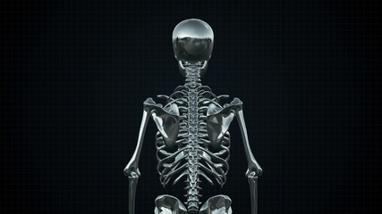Metal Cyber Human Skeleton Silver Loopable. Alpha matte