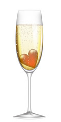 glass of champagne with heart
