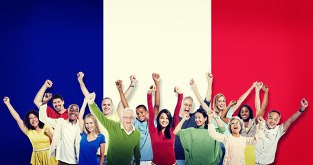 Group Multi-Ethnic People Celebrating France Concept