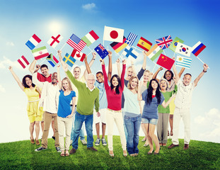 Multi-Ethnic Group People Holding National Flags Concept