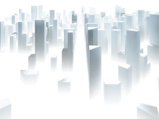 Abstract simple paper city background with skyscrapers