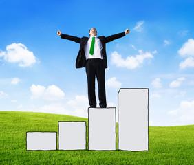 Businessman Bar Graph Success Achievement Goal Concept