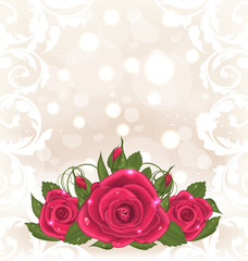 Luxury card with bouquet of pink roses