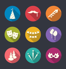 Set flat icons of party objects with long shadows