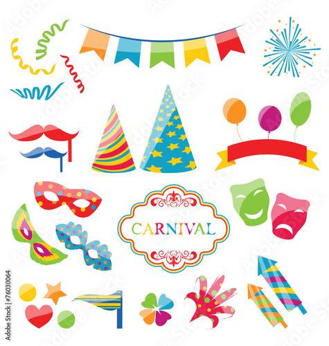 Fotobehang Carnaval Set colorful objects of carnival, party, birthday