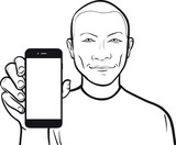 line drawing of a short-haired man showing a mobile app on a sma poster