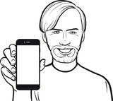 line drawing of a scandinavian man showing a mobile app on a sma poster