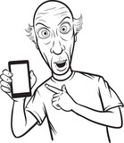 line drawing of a shocked bald man showing a mobile app on a sma poster