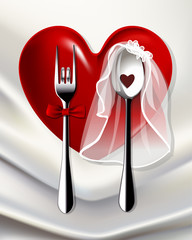 Vector of groom fork and bride spoon on red Heart Dinner Plate