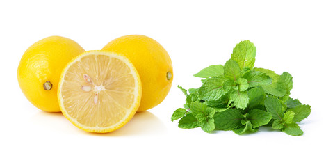 Lemon and mint on white background