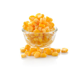 Sweet whole kernel corn on white background