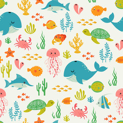Cute underwater life pattern