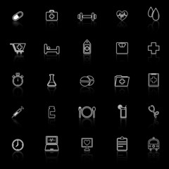Health line icons with reflect on black background