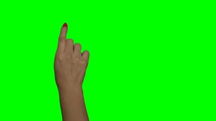 Greenscreen - Frau rechte Hand, rote Fingernägel, Erklärvideo