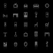 Furniture line icons with reflect on black background