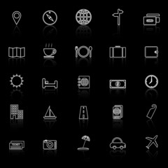 Travel line icons with reflect on black background