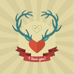 Heart with blue deer antlers.