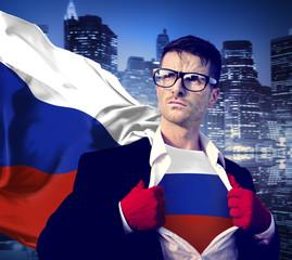 Businessman Superhero Country Russia Flag Culture Power Concept