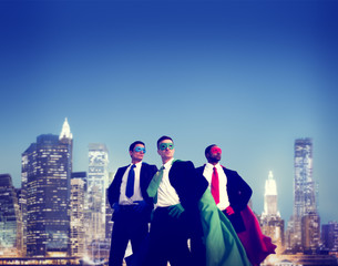 Superhero Businessmen Cityscape Team Concept