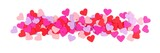 Valentines Day border of colorful paper hearts over white