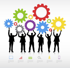 Group of Business People Holding Gears