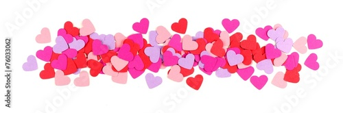 Leinwanddruck Bild Valentines Day border of colorful paper hearts over white