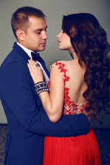 fashion interior photo of beautiful tender couple