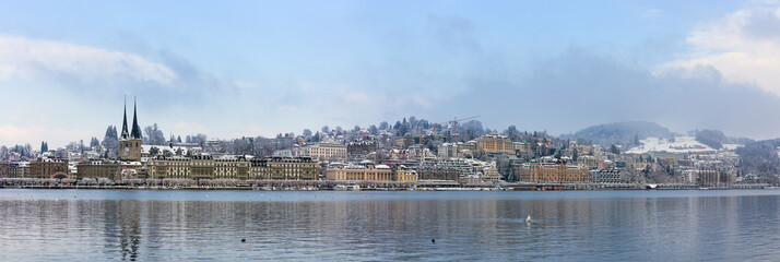 Panorama of Lucerne in the winter, Switzerland