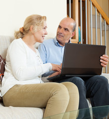 Positive mature couple  with laptop