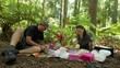 amily having a picnic in Redwood Forest Rotorua New Zealand