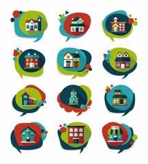 Building speech bubble flat design background set, eps10