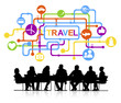 canvas print picture - Silhouettes Business People Travel Vacation Concept