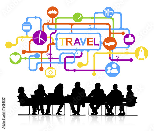 canvas print picture Silhouettes Business People Travel Vacation Concept