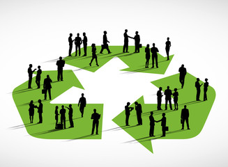 Business People Standing Symbol Recycling Concept