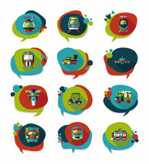 Transportation speech bubble flat design background set, eps10