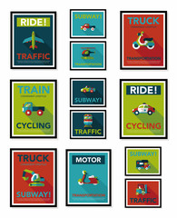 Transportation poster flat design background set, eps10