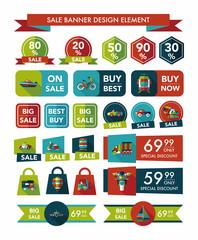 Transportation sale banner flat design background set, eps10
