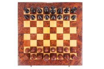 Altes Schachbrett und Figuren in die ursprüngliche Lage