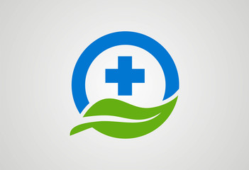 Circle cross medical naturely logo vector