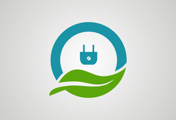Circle leaf power plug logo vector