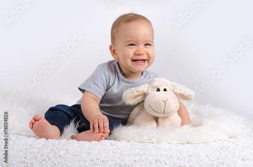 Leinwandbild Motiv Lachendes Baby