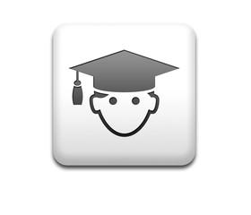 Boton cuadrado blanco 3D graduado
