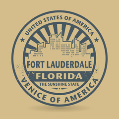 Grunge rubber stamp with name of Fort Lauderdale, Florida
